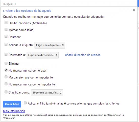 Imagen - Desactivar el filtro anti-spam de Gmail