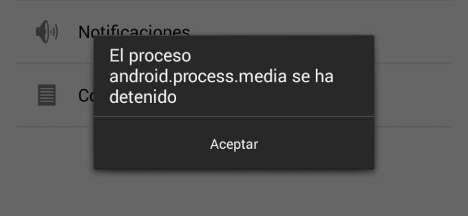 """Imagen - Cómo solucionar el error """"El proceso android.process.media se ha detenido"""""""