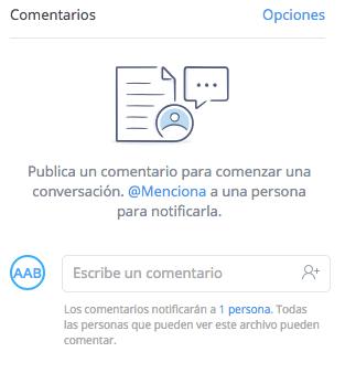 Imagen - Cómo escribir comentarios en Dropbox