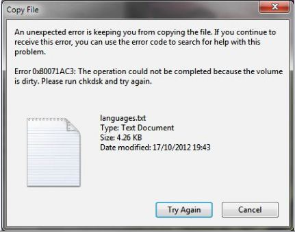 """Imagen - Cómo solucionar el error """"No pudo completarse la operación porque el volumen está dañado"""""""