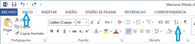 Imagen - Ordenar alfabéticamente un índice en Word