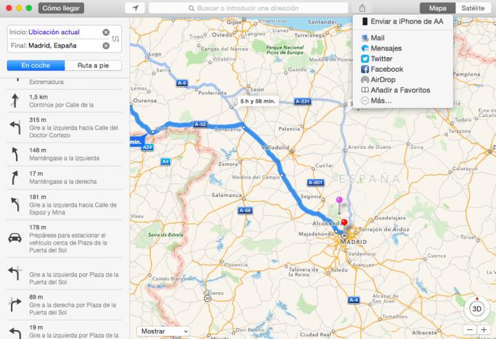 Imagen - Cómo enviar una ruta al iPhone desde Mac