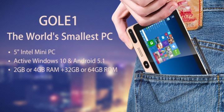 Gole1, mini PC de bolsillo con Windows 10 y Android por menos de 80 euros