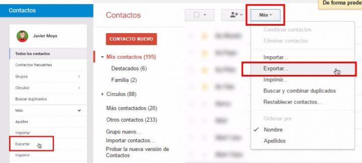 Imagen - Cómo exportar tus contactos de Gmail a Outlook y otros