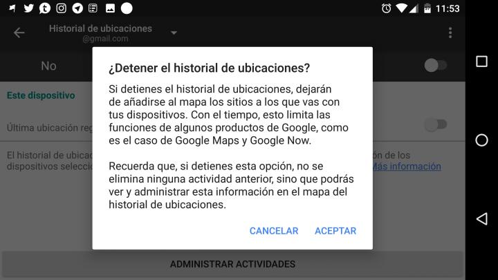 """Imagen - Cómo quitar la notificación de """"Historial de ubicaciones de Google"""""""