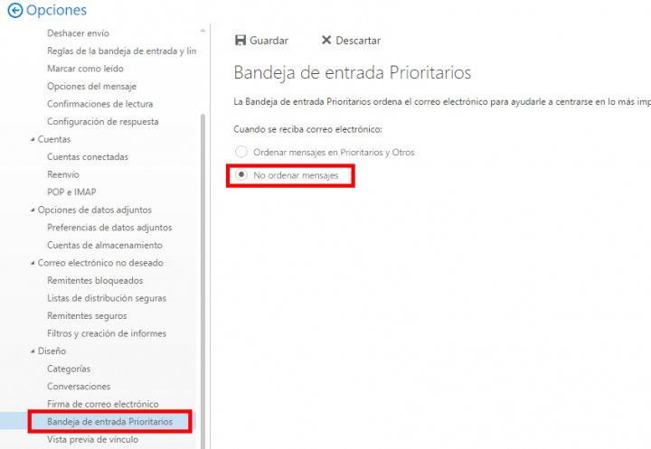 Imagen - Cómo dejar de mostrar prioritarios en Outlook