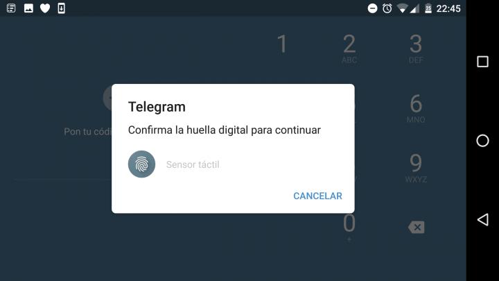 Imagen - Cómo bloquear Telegram con huella dactilar