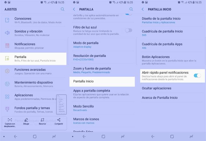 Imagen - Cómo deslizar el panel de notificaciones con un gesto hacia abajo en el Samsung Galaxy S8