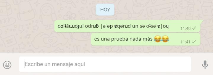 Imagen - Cómo escribir mensajes de WhatsApp al revés