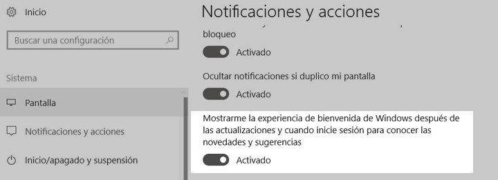 Imagen - Desactiva la pantalla de bienvenida de Windows 10 que aparece tras cada actualización
