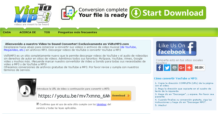 Imagen - VidtoMP3, convierte YouTube a audio