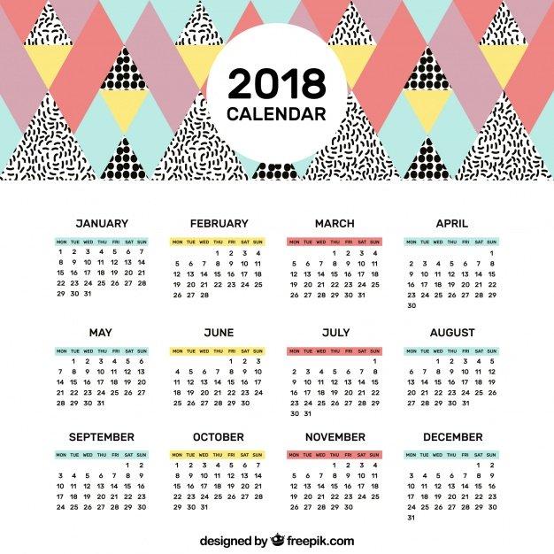 11 plantillas de calendarios para 2018 for Calendario de pared 2018