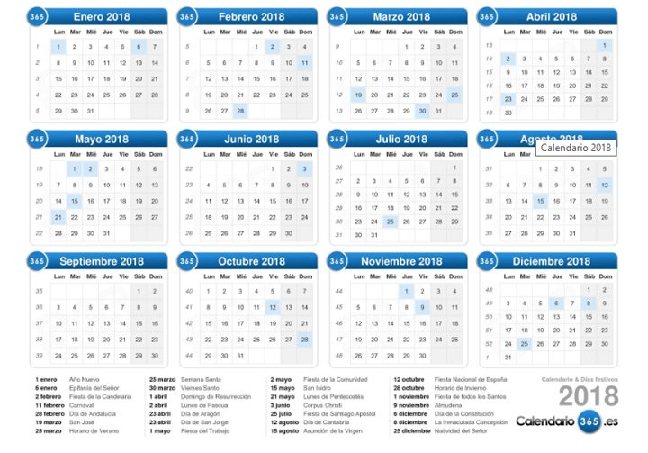 Plantilla Calendario Word