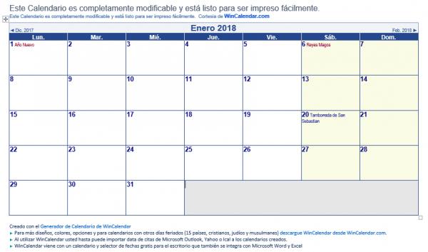 Imagen - 7 plantillas de calendario laboral 2018