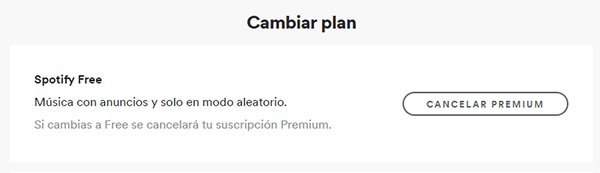 cancelar spotify premium android