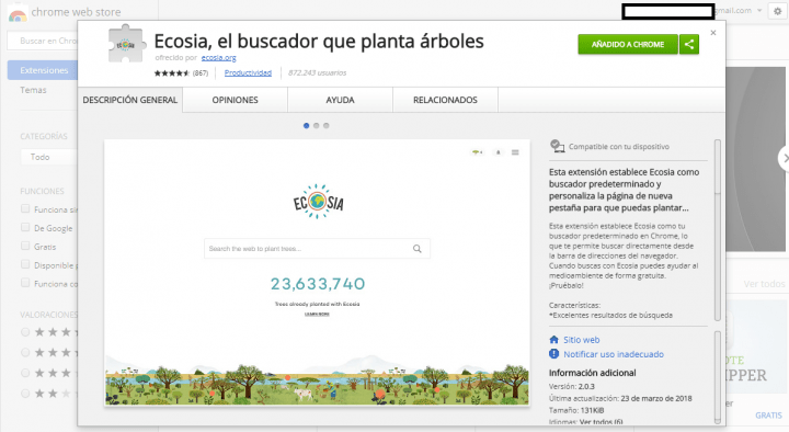 """Imagen - Ecosia, el """"Google"""" que dedica sus ingresos a reforestar bosques"""