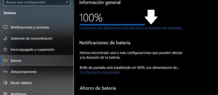 Imagen - Cómo saber qué está gastando la batería en Windows 10
