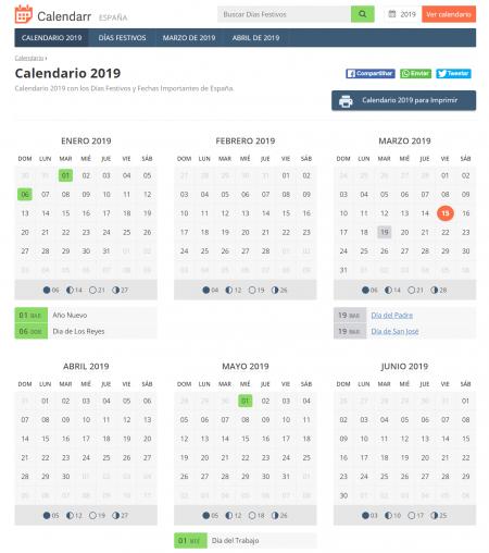 Imagen - Dónde ver los festivos en España del calendario 2019