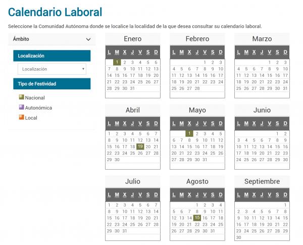 Imagen - 7 plantillas para el calendario laboral 2019