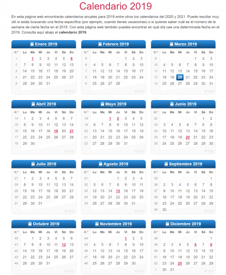 Calendario Mensual Word.8 Plantillas De Calendario Del Ano 2019