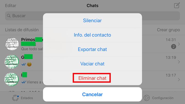 """Imagen - ¿Es lo mismo """"vaciar chat"""" que """"eliminar conversación"""" en WhatsApp?"""