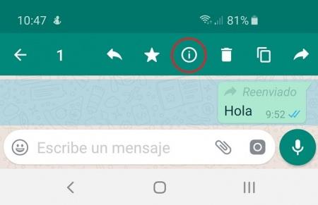 Imagen - Cómo ver si han reenviado tu mensaje de WhatsApp