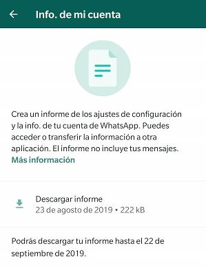 Imagen - Cómo solicitar el informe de tu cuenta en WhatsApp
