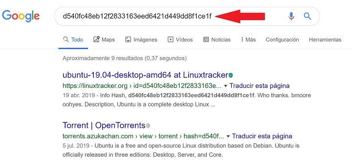 Imagen - Cómo buscar un hash de un torrent en Google