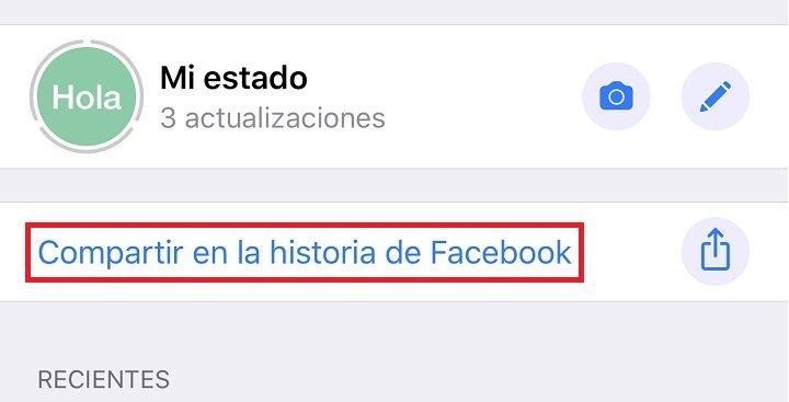 Imagen - Cómo compartir un Estado de WhatsApp en las historias de Facebook