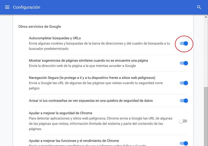 Imagen - Cómo desactivar el autocompletar de la barra en Chrome