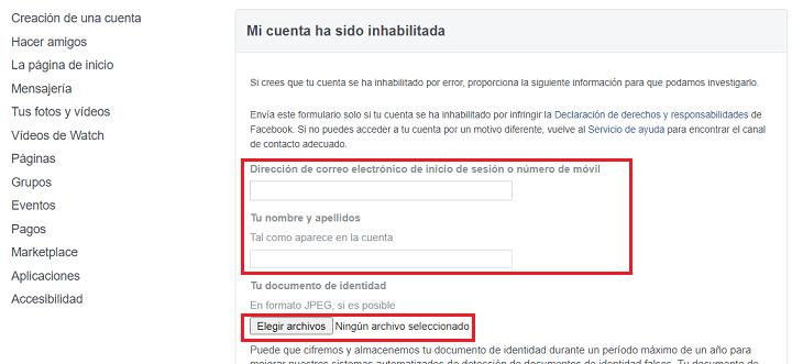 Imagen - Cómo recuperar una cuenta de Facebook desactivada