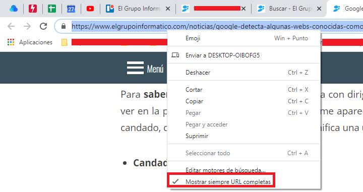 Imagen - Cómo hacer que Chrome muestre la URL completa