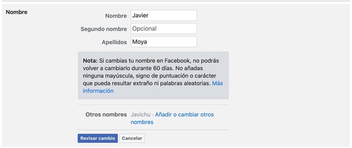 Imagen - Cómo cambiar el nombre en Facebook