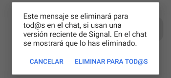 Eliminar mensajes enviados en Signal