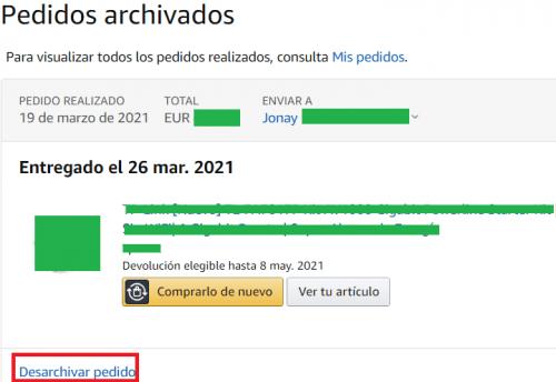 Imagen - Cómo ocultar un pedido en Amazon