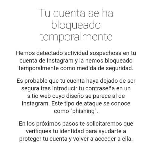 """Imagen - Instagram: """"Tu cuenta se ha bloqueado temporalmente"""""""