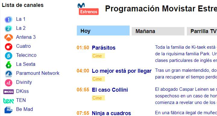Imagen - Cómo ver la programación de Movistar+ por Internet