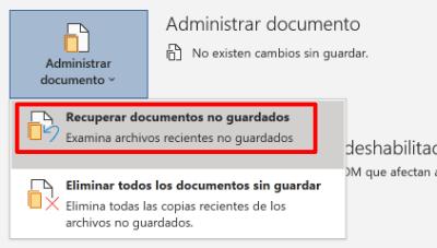 Imagen - Recuperar documentos de Office sin guardar