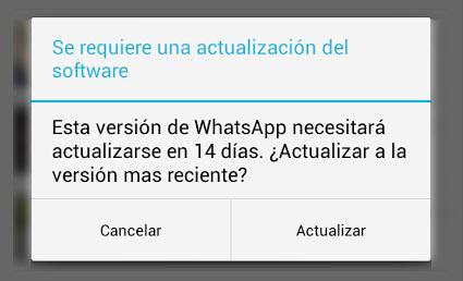Imagen - WhatsApp abre un extraño aviso de una actualización inexistente