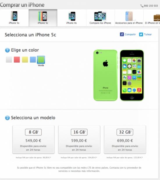 Imagen - iPhone 5C de 8Gb ya a la venta por 549 euros