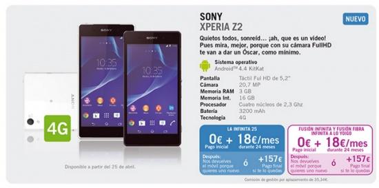 Imagen - Precios del HTC One M8 y Sony Xperia Z2 con Yoigo