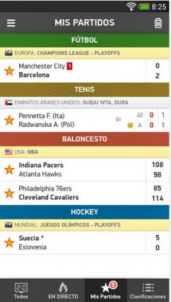 Imagen - Mis Marcadores, resultados y estadísticas en directo de 26 deportes en iOS y Android