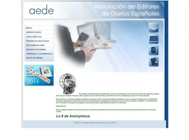 Imagen - Anonymous hackea la web de AEDE tras la aprobación de la LPI