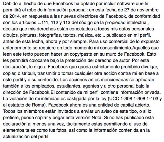 Imagen - Rumor falso: oponerse a las nuevas condiciones de Facebook con un mensaje en el muro