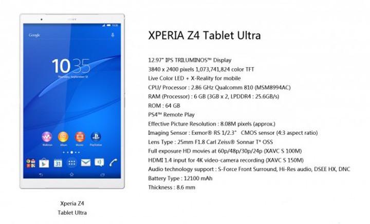 Imagen - Sony Xperia Z4 Tablet Ultra, rumores de una increíble tablet de 12,9 pulgadas