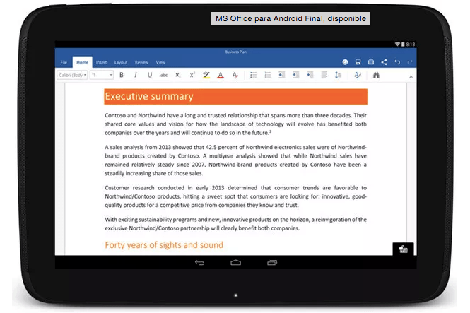 Imagen - Descarga ya Office para tablets Android