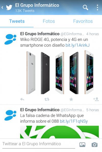 Imagen - Twitter para Android actualiza el diseño de los perfiles