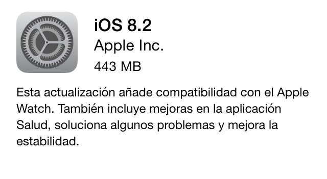 Imagen - iOS 8.2 ya es oficial: compatibilidad con Apple Watch y muchas correcciones y mejoras