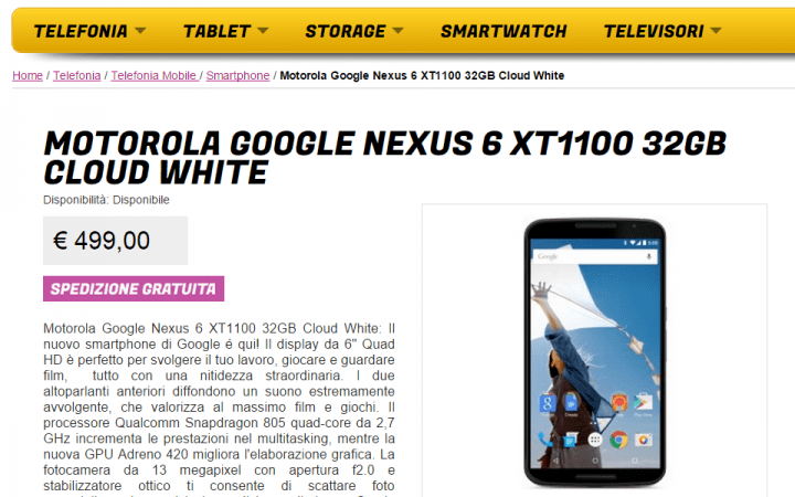 Imagen - Nexus 6 en oferta por 499 euros