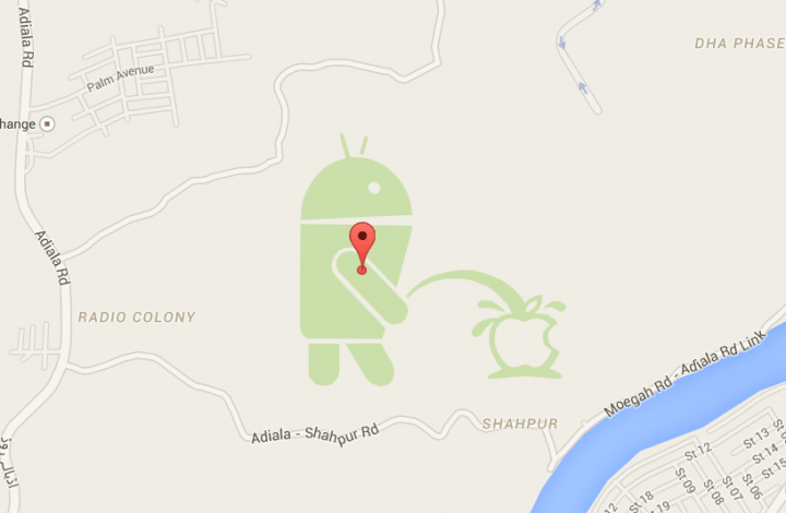 Imagen - Un dibujo en Google Maps muestra cómo Android se ríe de Apple